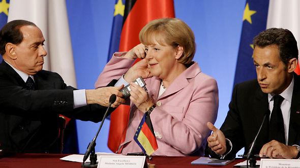Nicolas Sarkozy  Angela Merkel  Silvio Berlusconi Ikke enighet enda, men kjøper dippen
